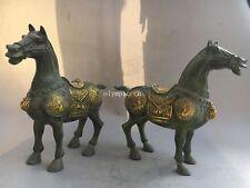 Pair 12'' bronze gild gold carved dragon phoenix design battle steed war horse