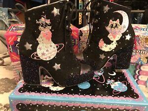 Stunning Irregular Choice Felicette Black, Size 5 (38), glitter, cat, dog