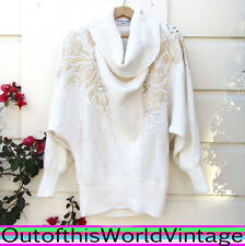 Vtg 80s SEQUIN Sweater OVERSIZED White Wedding Cowl RHINESTONE BEADED COUTURE