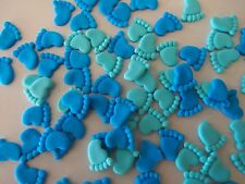 50 x Edible Tiny BABY SHOWER FEET Cupcake Toppers CAKE DECORATIONS - ANY COLOUR!