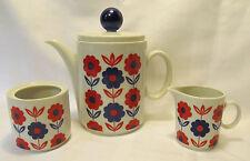 Winterling Schwarzenbach Bavaria Teapot Creamer Sugar Bowl Blue & Red Flowers