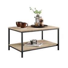 Industrial Coffee Table Open Shelf Storage Display Wooden Metal Frame Furniture