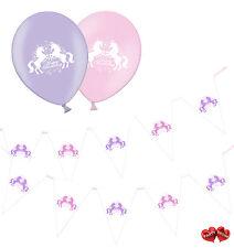 Bundle of Unicorn Bunting Banner - and 8 Unicorn Happy Birthday Balloons