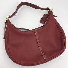 Coach Handbag Zoe  9593 Small Crescent Leather Hobo Burgandy Red Bag Clutch