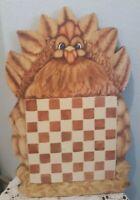 PRIMITIVE HP FOLK ART PRIM FALL Hen CHICKEN RECLAIMED WOOD Checker Board Game