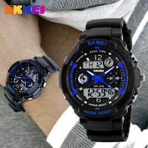 Mens Digital Sport Watch Waterproof Military Style LED Backlight Alarm Date