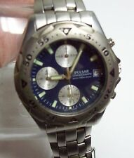 Men's PULSAR Chronograph Blue Faced Silvertone Watch