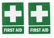 2 X UV FIRST AID sign Sticker OH&S Work Place Safety Kit Workplace vehicle PAIR