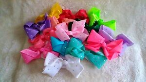 15cm Ribbon Hair Bow with Crystal Detail - Choice of 13 Colours