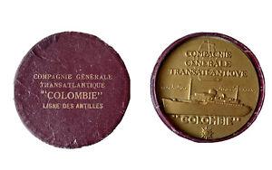 Médaille Compagnie Générale Transatlantique Paquebot Colombie Ligne des Antilles