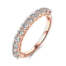 Anniversary Gift Simple Band Ring Solid 14K Rose Gold Round Cut 0.8ct Moissanite