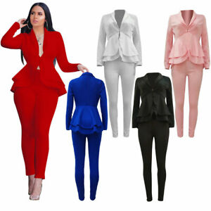 2Pcst Women Solid Blazer Office Outfits Business Jacket Pants Suit Formal Work