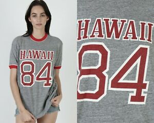 Vintage 80s Hawaii 1984 Heather Grey Rayon Tri-Blend Red Ringer Tee T Shirt L