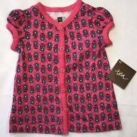Tea Collection Baby Girls 3-6 Months Pink Floral Leela Button Tunic Top Shirt