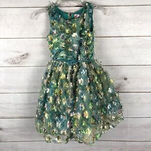 Zoe LTD Green 3D Flowers Girl Sz 10 Floral sleeveless Dress