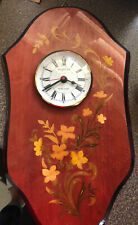 Vintage Italy Inlaid Wood Marquetry Swiss Quartz Wall Clock Valentina Gift Works