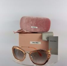 Brand New Authentic MIU MIU SMU 04Q TV1-4K0 Sunglasses Pink Gold Frame Crystals