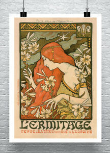Female in Flowers 1897 French Art Nouveau Poster Giclee Print on Canvas or Paper