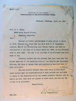 THOMAS RYAN (1837-1914) Congressman Secretary Interior AUTOGRAPHED 1910 Letter