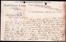1893 St Augustine Florida East Coast Line - Henry Flagler's  Letter Head