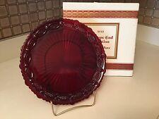 Avon Cape Cod Ruby Red Crystal Glass Salad or Dessert Plates Set 2 Original Box