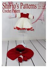 CROCHET PATTERN for BABY GIRL DRESS SHOES & CAPE #162 By ShiFio Patterns