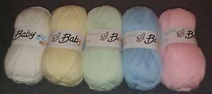 Woolcraft babycare  Baby Wool, Soft DK  Yarn/wool  5x100g mixed colour bundle