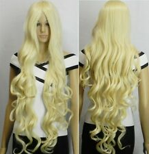 Stylish long Blonde curly health like real hair women's wigs +wig cap100cm AE144