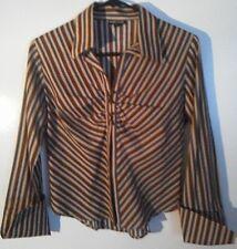 VTG Wet Seal Sm Brown Tan Blue White Vertical Stripe Button Long Sl Blouse Shirt