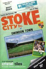 Football Programme>STOKE CITY v SWINDON TOWN Nov 1988
