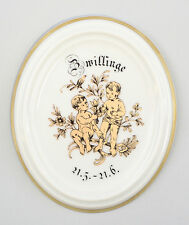 9988067 Porzellan Wandbild Sternzeichen Medaillon Zwillinge Kämmer 9,5x11cm