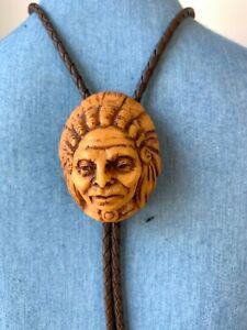 Vintage Native American Chief Resin Bolo Tie Bennett 1960's