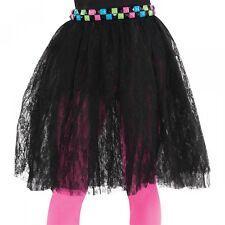 80s Black Lace Skirt Adult Halloween Costume Fancy Dress