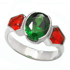 De Buman 3.64ctw Chrome Diopside & Create Ruby 925 Silver Trendy Ring, Size 7.5