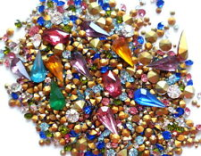 500-600 LOOSE VINTAGE RHINESTONES JEWELRY REPAIR CRAFTS MIXED COLORS SIZES