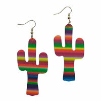 rockabilly SERAPE CACTUS TURQUOISE LARGE EARRINGS SOUTHWEST COWGIRL WESTERN