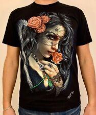 Dark Sexy Lady Angel Rose - 3D Rock Chang T-Shirt Glow In The Dark Rivet Stud