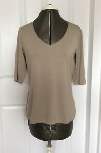NEW Armani Collezioni Women's T-shirt Khaki Mid Sleeve V-Neck 40 UK Size 8