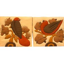 70s Vintage Vallila Finland Howard Smith Fabric 2 Wall Hanging Bird Mid Cent Mod