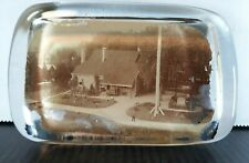 Vintage Glass Paperweight Washington's Headquarters NewBurgh NY Sepia #2
