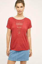 NWT Sz L Anthropologie Macrame Bib Tee Red Blouse by Tiny Top Size Large