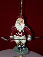 SANTA CLAUS ON ICE SKATES with hockey stick  CHRISTMAS ORNAMENT USA