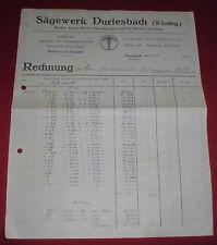 rechnung alt antik sägewerk durlesbach gustav raiser f. schirmer 1923 papier