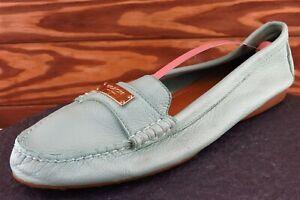 Coach Sz 10 B Blue Round Toe Loafer Leather Fredrica