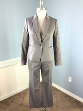 ANN TAYLOR 2 P Gray Pinstripe Pant Suit Career Cocktail Excellent Cotton Sateen