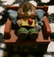 hedgehog sitting on a bench small resin trinket box very good condition used