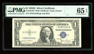 DBR 1935-D $1 Silver STAR Gem Wide Fr. 1613W* PMG 65 EPQ Serial *91347244B