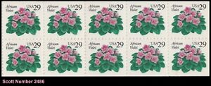 US 2486 African Violet 29c pane (10 stamps) MNH 1993