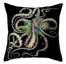 Cushion Pillow Cover Octopus on Black Kraken Steampunk Beach House Polyester