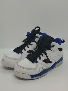 Jordan FLTCLB '91 555470 100 White/Hyper Royal-Black Kid Size 1Y Pre-Owned Flaw
